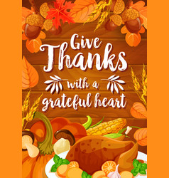 Thanksgiving day dinner banner on wood background vector