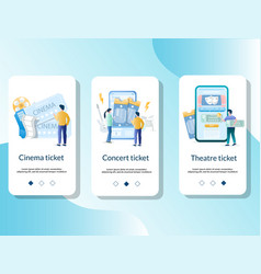 tickets mobile app onboarding screens vector image