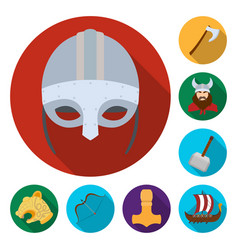 vikings and attributes flat icons in set vector image