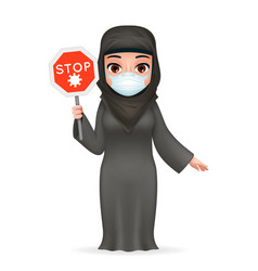 Virus stop sign protective medical face mask arab vector