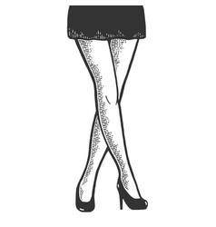 woman crossed legs in short sexy skirt sketch vector image