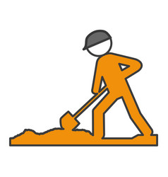 Worker with shovel silhouette vector