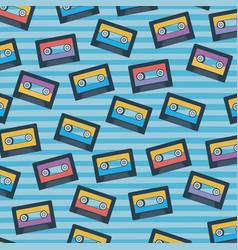 cassettes pattern set on pop art linear color vector image