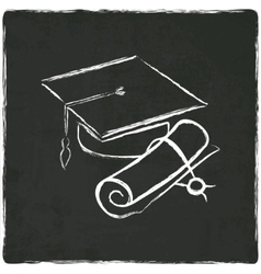 Graduation cap and diploma on old background vector image vector image