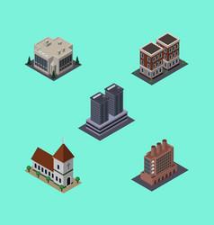 Isometric building set of chapel industry vector