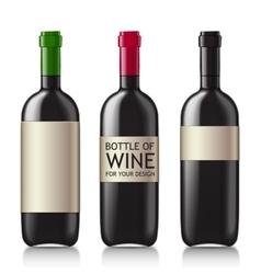 Patterns of black empty wine bottles vector image