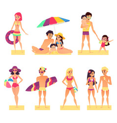 people on vacation flat style vector image vector image