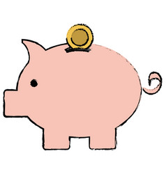 piggy savings isolated icon vector image