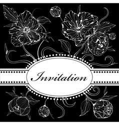 Black and white invitation with peony flowers vector image