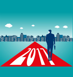 businessman carrying bag and walking on the vector image vector image