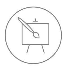Easel and paint brush line icon vector image vector image