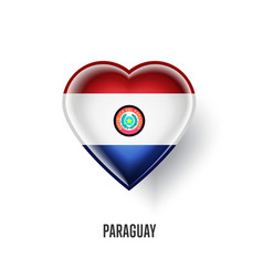 Patriotic heart symbol with paraguay flag vector