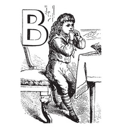 alphabet b bit it vintage vector image