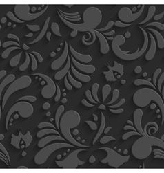 Black 3d floral seamless pattern vector