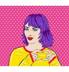 Pop art surprised woman face with mouth Comic vector image vector image