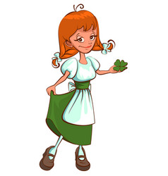 st patricks day irish red haired girl holding vector image