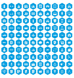 100 private property icons set blue vector image vector image