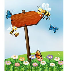 An arrow board with insects vector image
