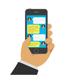 chatting with chatbot on phone vector image vector image