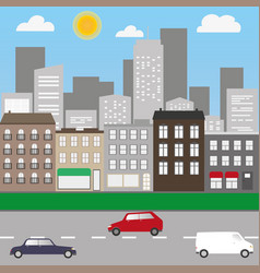 city landscape with cars and shops vector image vector image