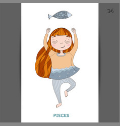cute girl in the form of zodiac sign pisces vector image