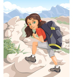 Girl with a backpack vector image vector image