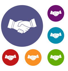 handshake icons set vector image vector image