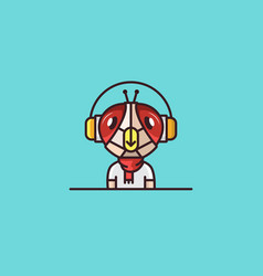 insect mascot fly headphones character vector image vector image