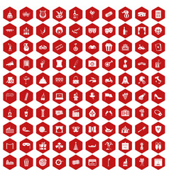 100 mask icons hexagon red vector
