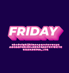 3d layered pink bold text effect or font effect vector