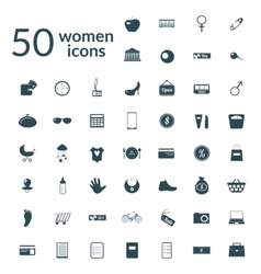 50 woman icons set vector image