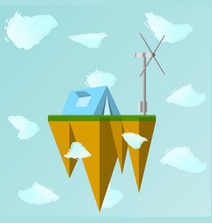 a floating island in the vector image