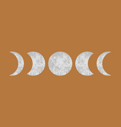 abstract stone textured moon phases mid century vector image
