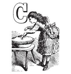 Alphabet c cut it vintage vector