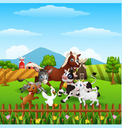 animals farm playing at hills vector image