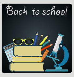 back to school blackboard with school supplies vector image
