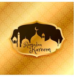Beautiful ramadan kareem greeting with golden vector