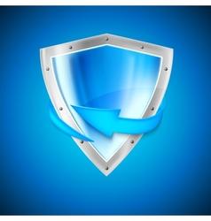 Blue shield with arrow vector