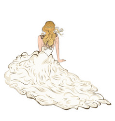 bride sit in fluffy dress vector image