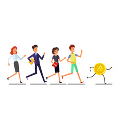 buisiness people running to bitcoin currency vector image