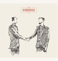 Business meeting handshake man sketch drawn vector