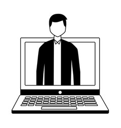 Businessman on screen laptop vector