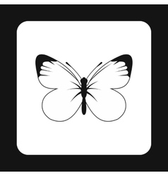 Butterfly with white and black wings icon vector