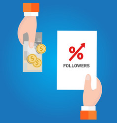 buy followers in social media to get attention vector image