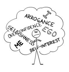 Cartoon arrogant self-interested overconfident vector