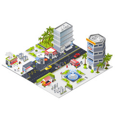 City restaurants and cafe isometric composition vector
