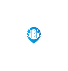 cityscape building mark pin gps logo vector image