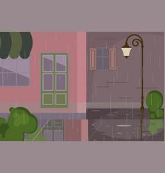 Cityscape with rainy scene vector