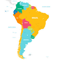 colorful map south america vector image