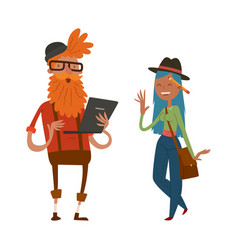 Creative team people hipster business landing page vector